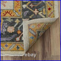 Vegetable Dye All-Over Geometric Oushak Turkish Area Rug Hand-Knotted Wool 8x10