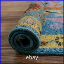 Vegetable Dye BLUE All-Over Geometric Floral Oushak Turkish Area Rug Wool 8'x10