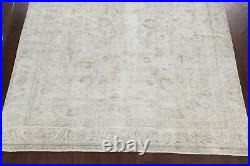 Vintage Distressed Muted Floral Oriental Area Rug Hand-knotted Wool Carpet 9x12
