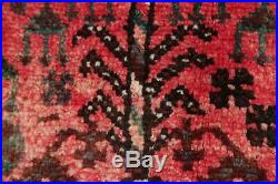 Vintage Geometric Tribal Abadeh Area Rug Hand-Knotted PINK RED Wool Carpet 6'x9