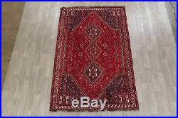 Vintage Geometric Tribal RED Abadeh Oriental Area Rug Hand-Knotted Wool 6'x9