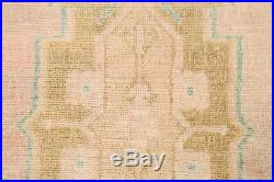 Vintage Muted Geometric Oushak Turkish Area Rug Hand-Knotted Wool 1'x3' Carpet
