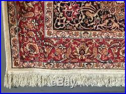 Vintage Persian Pure Silk Rug Pattern Carpet In Immaculate Condition